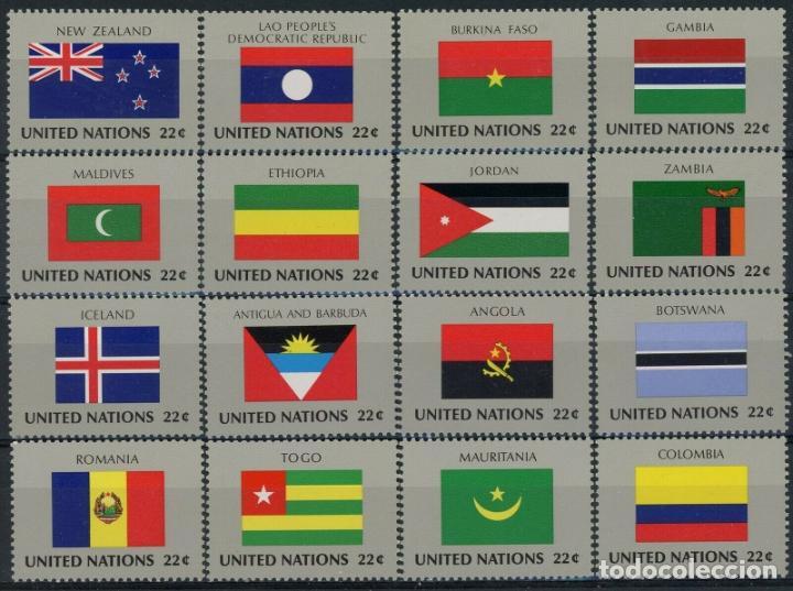 NACIONES UNIDAS NEW YORK 1986 IVERT 467/82 *** BANDERAS ESTADOS MIEMBROS DE NACIONES UNIDAS (VII) (Sellos - Extranjero - América - Estados Unidos)