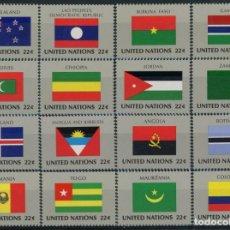 Sellos: NACIONES UNIDAS NEW YORK 1986 IVERT 467/82 *** BANDERAS ESTADOS MIEMBROS DE NACIONES UNIDAS (VII). Lote 212989936