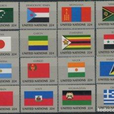 Sellos: NACIONES UNIDAS NEW YORK 1987 IVERT 492/507 *** BANDERAS ESTADOS MIEMBROS DE NACIONES UNIDAS (VIII). Lote 212990148