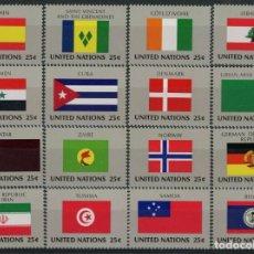 Sellos: NACIONES UNIDAS NEW YORK 1988 IVERT 521/36 *** BANDERAS ESTADOS MIEMBROS DE NACIONES UNIDAS (IX). Lote 212990347