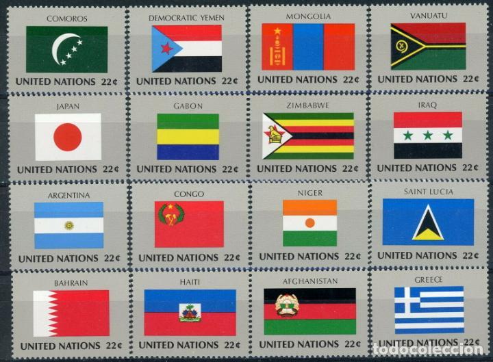 NACIONES UNIDAS NUEVA YORK 1987 IVERT 492/507 *** BANDERAS DE PAISES MIEMBROS DE LA ONU (VIII) (Sellos - Extranjero - América - Estados Unidos)