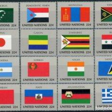 Sellos: NACIONES UNIDAS NUEVA YORK 1987 IVERT 492/507 *** BANDERAS DE PAISES MIEMBROS DE LA ONU (VIII). Lote 217330912
