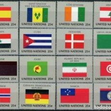 Sellos: NACIONES UNIDAS NUEVA YORK 1988 IVERT 521/36 *** BANDERAS DE PAISES MIEMBROS DE LA ONU (IX). Lote 217331528