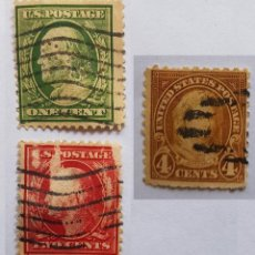 Sellos: U.S.POSTAGE ONE CENT, U.S.POSTAGE TWO CENTS, UNITED STATES POSTAGE 4 CENTS, 3 SELLOS, 3 STAMPS. Lote 217582761