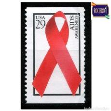 Sellos: ESTADOS UNIDOS. MICHEL 2425A, YVERT 2208. LAZO ROJO DÍA MUNDIAL DEL SIDA.. USADO. Lote 218701813