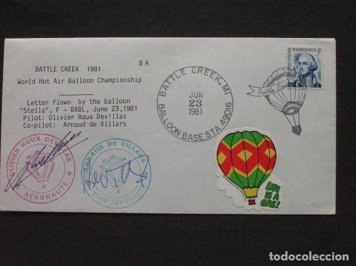 U.S.A. - SOBRE CONMEMORATIVO DE BATTLE CREEK 1981 - VUELO GLOBO STELLA CON LA FIRMA DE SUS PILOTOS (Sellos - Extranjero - América - Estados Unidos)