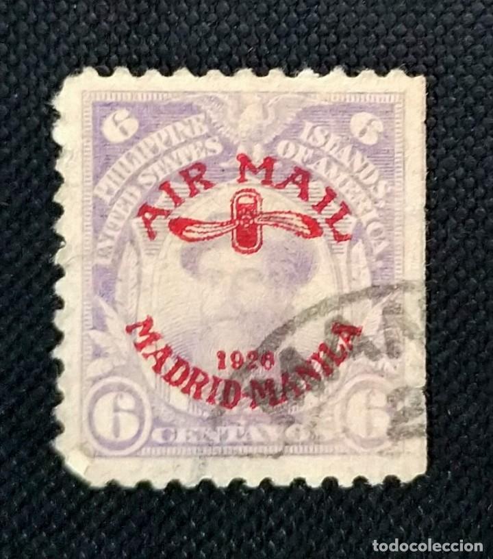 SELLO DE FILIPINAS - ESTADOS UNIDOS CORREO AÉREO 1926 MADRID-MANILA Y HÉLICE DE AVIÓN SOBREIMPRESOS (Sellos - Extranjero - América - Estados Unidos)