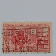 Sellos: SELLO ESTADOS UNIDOS YT 555. CENTENARIO NACIMIENTO BETSY ROSS. 1952.. Lote 228776475