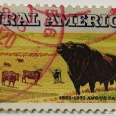 Francobolli: SELLO USA, RURAL AMÉRICA, ANGUS CATTLE, 8C. Lote 230730190