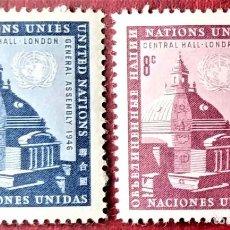 Selos: ONU (N. YORK). 58/59 ANIVERSARIO 1ª ASAMBLEA GENERAL EN CENTRAL HALL DE LONDRES. 1958. SELLOS NUEVO. Lote 234771251