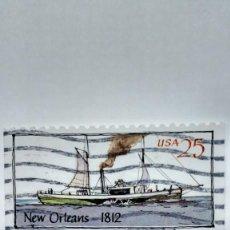 Sellos: SELLO ESTADOS UNIDOS BARCO NUEVA ORLEANS 1812. USADO.1989. Lote 235456715