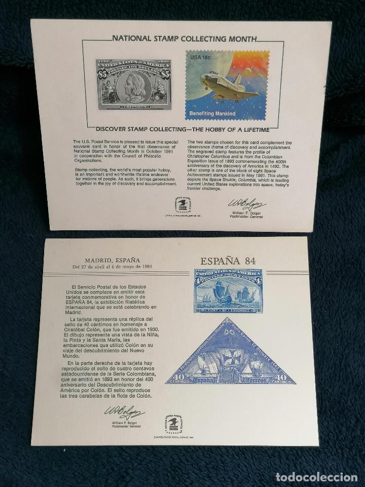ESPAÑA USA TARGETA CONMEMORATIVA EMISION SELLOS 1984 (Sellos - Extranjero - América - Estados Unidos)