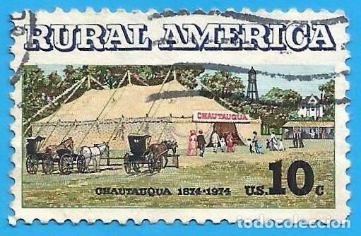 ESTADOS UNIDOS. 1974. AMERICA RURAL. TIENDA CHAUTAUQUA Y BUGGIES (Sellos - Extranjero - América - Estados Unidos)