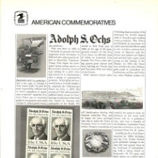 Sellos: USA 1976 COMMEMORATIVE PANEL 70 ADOLPH S. OCHS - CHARTER MEMBER. Lote 246549845