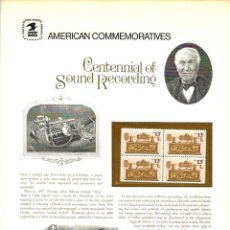 Sellos: USA 1977 COMMEMORATIVE PANEL 73 CENTENNIAL OF SOUND RECORDING - CHARTER MEMBER. Lote 246563070