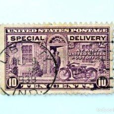 Sellos: SELLO ESTADOS UNIDOS 1927, 10 C, CARTERO EN MOTOCICLETA, ENTREGA ESPECIAL, USADO. Lote 251724870