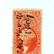 Sellos: SELLO ESTADOS UNIDOS 1862, 1 $, INGRESOS, MANIFIESTO, PODER NOTARIAL , USADO. Lote 251793430