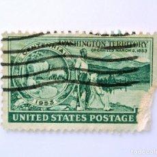 Sellos: SELLO ESTADOS UNIDOS 1953, 3 C, TERRITORIO DE WASHINGTON, MEDALLÓN, PIONEROS Y ESCENA DE WASHINGTON. Lote 251841080