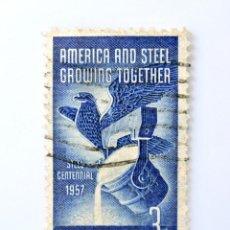 Sellos: SELLO ESTADOS UNIDOS 1957,3 C, AMERICAN EAGLE,AMÉRICA Y EL ACERO CRECEN JUNTOS CENTENARIO DEL ACERO. Lote 251848000