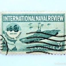 Sellos: SELLO ESTADOS UNIDOS 1957, 3 C, REVISIÓN NAVAL INTERNACIONAL, FESTIVAL DE JAMESTOWN,PORTAVIONES. Lote 251857065