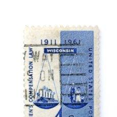 Sellos: SELLO ESTADOS UNIDOS 1957, 4 C, LEY DE COMPENSACIÓN PARA TRABAJADORES, WISCONSIN, BALANZA. Lote 251858165