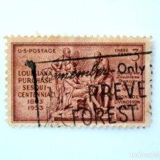 Sellos: SELLO ESTADOS UNIDOS 1953, 3 C,COMPRA DE LOUISIANA SESQUICENTENARIO JAMES MONROE. ROBERT LIVINGSTON. Lote 251861605