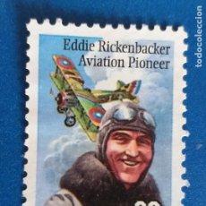 Sellos: USA. ESTADOS UNIDOS. AÑO 1995. AVIADOR EDDIE RICKENBACKER (1890-1973) AVION. YVERT 2441. Lote 254764760