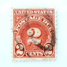 Sellos: SELLO POSTAL ESTADOS UNIDOS 1931, 2 C,PORTES DEBIDOS, **FALLO DE IMPRESIÓN TINTA EN NÚMEROS, USADO. Lote 258172045