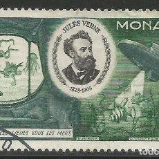 Sellos: MONACO - 1955 - 25 FRANCOS - JULES VERNE - USADO. Lote 260362310
