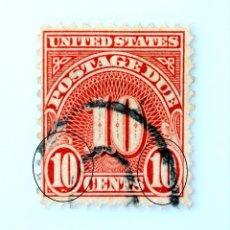 Sellos: SELLO POSTAL ESTADOS UNIDOS 1930, 10 C, PORTES DEBIDOS, USADO **FALLO IMPRESIÓN TINTA. Lote 260399260