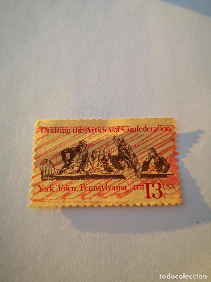 SELLO USA 13C DRAFTING THE ARTICLES OF CONFEDERATION YORK TOWN PENNSYLVANIA (Sellos - Extranjero - América - Estados Unidos)