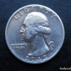 Sellos: ESTADOS UNIDOS USA MONEDA PLATA 1/4 DOLLAR AÑO 1945. CONSERVACIÓN EBC. Lote 269491593
