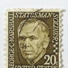 Sellos: SELLO DE ESTADOS UNIDOS 20 C - 1967 - GEORGE MARSHALL - USADO SIN SEÑAL DE FIJASELLOS. Lote 269977328