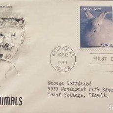 Sellos: O) 1999 UNITED STATES, ARCTIC HARE, ARCTIC FOX, FDC USED. Lote 278423043