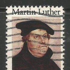 Sellos: ESTADOS UNIDOS - 20 CENTIMOS 1983 - 500 ANIV. DE NACEMIENTO DE MARTIN LUTHER - USADO. Lote 278821893