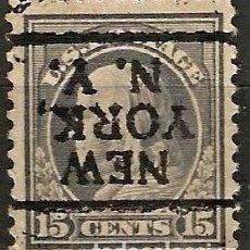 Sellos: EEUU - BENJAMIN FRANKLIN - 1910 - 15C - NEW YORK / NEW YORK - INVERTIDO. Lote 288585133