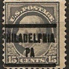 Sellos: EEUU - BENJAMIN FRANKLIN - 1910 - 15C - PHILADELPHIA / PA. Lote 288585153