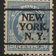 Sellos: EEUU - BENJAMIN FRANKLIN - 1914 - 20C - NEW YORK / NEW YORK. Lote 288585503