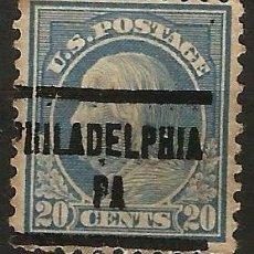 Sellos: EEUU - BENJAMIN FRANKLIN - 1914 - 20C - PHILADELPHIA / PENNSYLVANIA. Lote 288585538