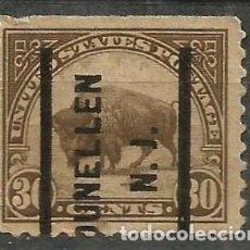 Sellos: EEUU - 1910 - BUFFALO AMERICANO - 30C - DUNELLEN / NEW JERSEY. Lote 295032308