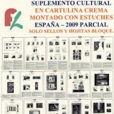 Sellos: FILOBER. SUPLEMENTO ESPAÑA 2009 CULTURAL EN CARTULINA CREMA PARCIAL MONTADO ESTUCHES TRANSPARENTES. Lote 17694629