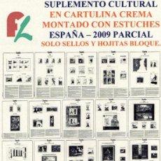 Sellos: FILOBER. SUPLEMENTO ESPAÑA 2009 CULTURAL EN CARTULINA CREMA PARCIAL MONTADO CON ESTUCHES NEGROS. Lote 17694662