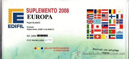EDIFIL. SUPLEMENTO 2008 EUROPA PAPEL BLANCO CON ESTUCHES NEGROS (Sellos - Material Filatélico - Estuches)