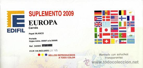EDIFIL. SUPLEMENTO 2009 EUROPA CARNÉS PAPEL BLANCO CON ESTUCHES TRANSPARENTES (Sellos - Material Filatélico - Estuches)