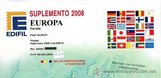 EDIFIL. SUPLEMENTO 2008 EUROPA CARNÉS PAPEL BLANCO CON ESTUCHES TRANSPARENTES (Sellos - Material Filatélico - Estuches)