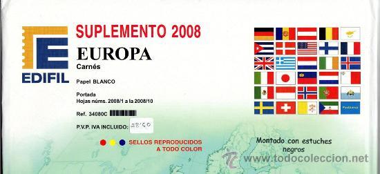 EDIFIL. SUPLEMENTO 2008 EUROPA CARNÉS PAPEL BLANCO CON ESTUCHES NEGROS (Sellos - Material Filatélico - Estuches)