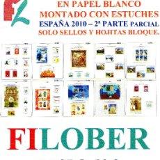 Sellos: FILOBER. SUPLEMENTO ESPAÑA 2010 COLOR PAPEL BLANCO PARCIAL 2ª PARTE CON ESTUCHES NEGRO. Lote 27715720