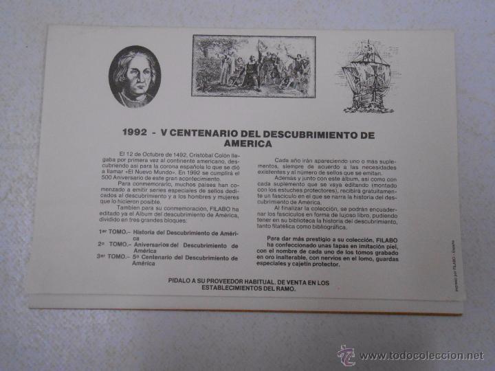 Sellos: ESTUCHE FILATELICO FILABO. 1992. V CENTENARIO DEL DESCUBRIMIENTO DE AMERICA. TDKP5 - Foto 2 - 232844130