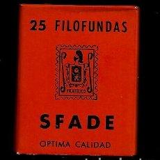 Sellos: 25 FILOFUNDAS O FILOESTUCHES - SFADE - 29X 34 - FONDO NEGRO. Lote 205550826