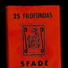 Sellos: 25 FILOFUNDAS O FILOESTUCHES - SFADE - 51 X 35 - FONDO NEGRO. Lote 223635646